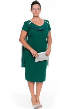 Kısa Zümrüt Yeşili Krep Kumaş Büyük Beden Abiye Elbise ALK6001