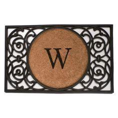 Rubber Door Mat with Coir Circle Monogram - 18003