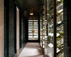 Wine cellar The Landau by David Collins Studio Love thebhigh gloss black brick walls