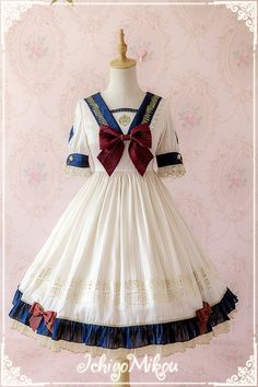 IchigoMiko -Ballad By The River Seine- Sailor Style Lolita OP Dress,Lolita Dresses, Lolita Cosplay, Cosplay Dress, Sailor Fashion, Lolita Fashion, Kawaii Fashion, Cute Fashion, Pretty Outfits, Beautiful Outfits, Fantasy Dress