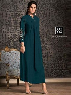 Latest Collection Ethnicmode Indian Teal color Rayon Print Fabric Party Wear Fancy Kurtis with Print Work Kurti. A New arrival in women's kurtis. Get unique & elegant kurti designs from our huge collection. Kurti Designs Party Wear, Kurta Designs, Long Kurtis, Bollywood Dress, Kurti Collection, Ethnic Wear Designer, Indian Ethnic Wear, Indian Kurta, Indian Style