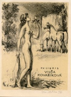 Emil kotrba / lithograph / ex-libris / nude woman / horses / printmaking / art / decor / bookplate / Czech
