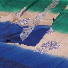 Weavers Studio 3 Tone Ombre Printed Tussar Silk Saree with Floral Motifs 10001181 - AVISHYA.COM