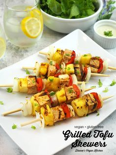 Grilled Tofu Skewers – made with pineapple, onion, and pepper — is the ultimate vegan barbecue recipe! It's easy to customize them to your liking. Serve them at your summertime cookouts and 4th of July barbecues. These flavorful kebabs are great as a main dish or a side for your veggie burger. This easy recipe is vegan and gluten-free.#vegan #grilling #glutenfree #4thofjuly Vegan Barbecue, Vegan Grilling, Barbecue Recipes, Grilling Recipes, Bbq, Skewer Recipes, Tofu Recipes, Veggie Skewers, Kebabs