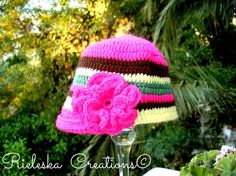 PDF Crochet Pattern -Vintage flower hat  The instructions are for - small adult and medium to large adult. Small size med to a child.  Price is for the