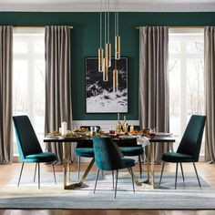 Finley Low Back Velvet Dining Chair West Elm. Finley Low Back Velvet Dining Chair West Elm Canada. Finley Low Back Velvet Dining Chair West Elm Australia. Home and Family Green Dining Room, Luxury Dining Room, Dining Room Sets, Dining Room Design, Turquoise Dining Room, Dining Room Paint, Luxury Chairs, Decor Room, Living Room Decor