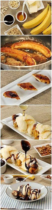 Brown Butter Banana Dessert Recipe: Now this looks yummy! Bon Dessert, Dessert Aux Fruits, Eat Dessert First, Simple Dessert, Just Desserts, Delicious Desserts, Yummy Food, Baking Desserts, Yummy Treats