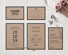 Rustic wedding invitation template, PRINTABLE wedding invitation set, Kraft invitation, Wedding invite, Diy wedding. EDITABLE PDF