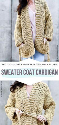 Crochet Cardigan Pattern Free Women, Diy Crochet Cardigan, Ladies Cardigan Knitting Patterns, Knit Cardigan Pattern, Chunky Knitting Patterns, Oversized Knit Cardigan, Free Crochet, Crochet Sweaters, Crochet Patterns