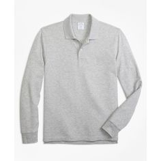 Brooks Brothers Slim Fit Supima® Long-Sleeve Performance Polo Shirt ($48) ❤ liked on Polyvore featuring men's fashion, men's clothing, men's shirts, men's polos, grey, mens slim fit polo shirts, mens slim shirts, mens long sleeve cotton shirts, mens extra long t shirts and american eagle mens shirts