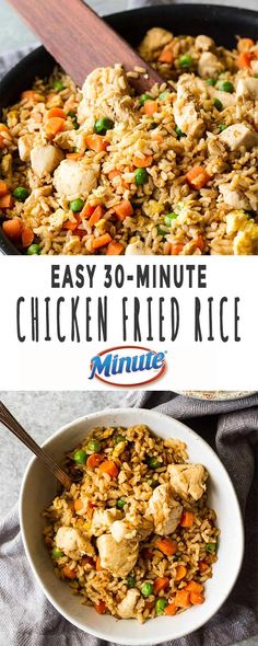 Weeknight dinners in less than 30 minutes always has my vote, and it's easy with this chicken fried rice! And even better, invite the kids along to help you cook for fun-filled family time! Best Gluten Free Recipes, Whole Food Recipes, Dinner Recipes, Healthy Recipes, Family Recipes, Delicious Recipes, Easy Recipes, Delicious Dishes, Amazing Recipes