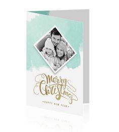 mooie squarel mint met witte kerstkaart met je eigen foto en gouden trypografische letters, maak deze kerstkaart zelf bij Luckz. #kerstkaart