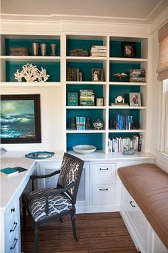 I like the teal inside of the bookshelves