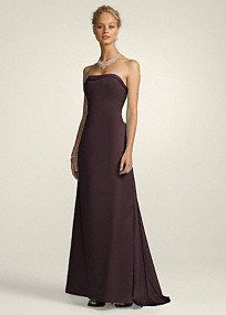 This satin strapless A-line dress has a beautiful cascade back. This silhouette is classic and elegant. It's perfect for a formal look for any occasion. With such simple detailing you can play up your jewelry to personalize this look.  * This style may be available in select stores; markdown stock is limited and cannot be special ordered.