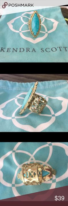 Kendra Scott Turquoise Maritza Ring Little bit of wear on the back of the bale.   Pouch is included. Kendra Scott Jewelry Rings