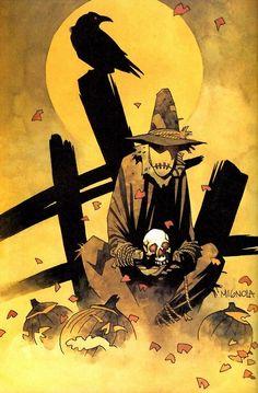 Scarecrow - Batman villain - art by Mike Mignola Comic Book Artists, Comic Book Characters, Comic Artist, Comic Books Art, Marvel Comics, Dc Comics Art, Batman Kunst, Batman Art, Illustrations