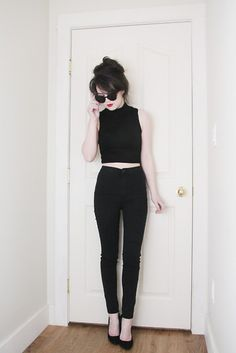 Yesfor Cat Eye Sunglasses, Yesfor Crop Top, Urban Behaviour High Waisted Trousers, Steve Madden Suede Pumps
