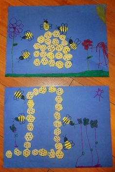 For John the Baptist lesson (because he ate locust and wild honey!): Honeycomb Art & Fingerprint Bees