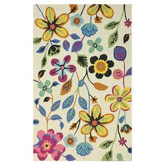 Hand-hooked floral wool rug.   Product: RugConstruction Material: 100% WoolColor: MultiFea...