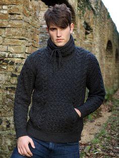9d14ef6b61e44a Cowl Neck Men's Aran Sweater by Natallia Kulikouskaya for AranCrafts of  Ireland Gents Sweater, Sweater