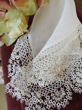 Very Fine Deep Tatted Lace Antique Bridal Handkerchief Wedding Heirloom