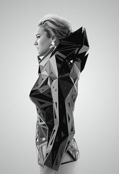 Architectural Fashion with 3D geometric structure; futuristic fashion // Levente Gyulai @castaner