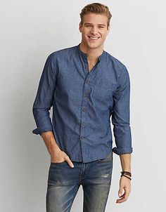 AEO Banded Collar Shirt - Short Kurta For Men, Casual Shirts For Men, Men Casual, Banded Collar Shirts, Stylish Mens Outfits, American Eagle Men, Band Shirts, Well Dressed Men, Mens Outfitters