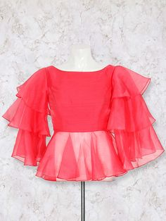 Shop Pretty pink designer silk blouse online from India. Netted Blouse Designs, Fancy Blouse Designs, Bridal Blouse Designs, Blouse Neck Designs, Stylish Blouse Design, Stylish Dress Designs, Design For Blouse, Girls Top Design, Fancy Top Design