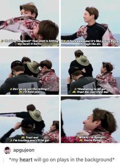 Hahahaha that was a funny moment. Let's not forget Jiminie helping to hold on to Jin as well ^^ such a caring bunch