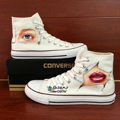 Womens Converse All Star Eye Mouse Hand Painted High Top Canvas Shoes Converse Sneakers, Converse All Star, Converse Chuck Taylor, High Top Sneakers, Star Eyes, Sneaker Art, Hand Painted Shoes, Body Love, Shoe Art