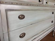 SOLD- Antique dresser chest of drawers - shabby chic old world aged patina. Gold leaf details - SOLD Antique dresser chest of drawers shabby chic old world Casas Shabby Chic, Rustic Shabby Chic, Shabby Chic Kitchen, Shabby Chic Style, Distressed Furniture, Shabby Chic Furniture, Antique Furniture, Furniture Ideas, Furniture Stores