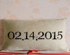 Custom wedding date pillow cover,burlap lumbar throw pillowcase,Engagement throw pillow decor,wedding keepsake,Personalized home decor $19.95 USD