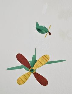 Baby Mobile Airplanes in Green and Red by CactusAndOlive on Etsy