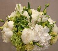 White peonie and green and white Hydrangea flowers  #white #wedding #flowers