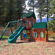 Climb onto the Summerville Playhouse for endless fun!  Your child can host tea parties in the playhouse, compose an exciting song on the rhythm band, soar to new heights on the swings, and swoop down the slide!  This unit is packed with fun in a stylish design with a durable wooden roof!