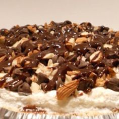 chocolate creme pie with whipped cream, peanut, chocolate chip and ganache topping....