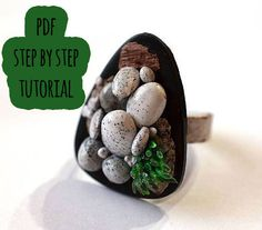 PDF polymer clay tutorial GRASS & STONE ring