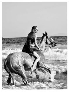 Dreams do come true. A day in the sea with this amazing animal. Horse Water, Dreams Do Come True, Erin Wasson, Catherine Deneuve, Horses, Sea, Amazing, Photography, Life