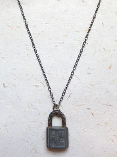 Upcycled Recycled Repurposed old rusted lock on a blackened sterling chain by OakbyLF, $30.00