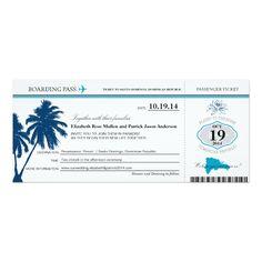 Dominican Republic Wedding Boarding Pass 4x9.25 Paper Invitation Card
