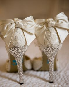 Lace and sparkle wedding shoes  Image by Powers Photography Studios