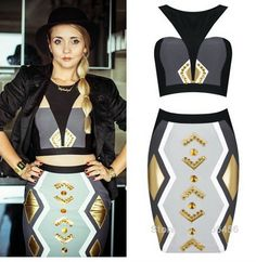 Streamlined !!! black and brown!! women's dream!!! Final temptation to men all over the world. New Hot Brand Good Quality Bead Gold Geometry Tribal Halter Two Pieces Fashion Girl Bandage Dress  http://www.aliexpress.com/store/product/Women-New-Hot-Brand-Good-Quality-Beading-Gold-Tribal-Halter-Two-Piece-Bodycon-Bandage-Dress-With/1266456_1912935143.html