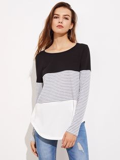 Shop Striped Cut And Sew Curved Hem Tee online. SheIn offers Striped Cut And Sew Curved Hem Tee & more to fit your fashionable needs. Long Sleeve Tee Shirts, Shirt Blouses, Long Sleeve Tops, Autumn T Shirts, Casual Tops For Women, Women's Casual, Tunic Tops, Clothes For Women, My Style