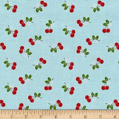 Designed by Lori Holt for Riley Blake, this cotton print fabric features summer's most delectable fruit, cherries, of course! Perfect for quilting, apparel and home decor accents. Colors include white, brown, green, red and sky blue.