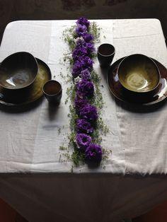 Flower runner - thymus and lisianthus - plates Serax Coll. Pure Ca' degli Uberti Mantova