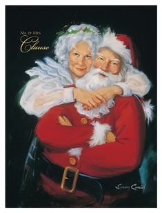 santa claus and mrs claus Christmas Scenes, Noel Christmas, Father Christmas, Vintage Christmas Cards, Christmas Pictures, Xmas, Christmas Couple, Christmas Music, Vintage Cards