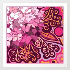 zentangle+inspired+Hortensia_rose+pink+doodle+Art+Print+by+/CAM+-+$16.00
