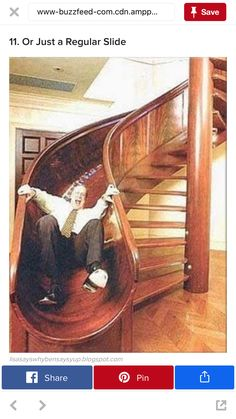 When I was like 8 years old, I had to draw up a sketch idea for what I wanted my future house to look like, a loft upstairs with a hammock bed, a fireman's pole, and a spiral staircase just like this. Future House, My House, Story House, Good House, Kids House, Stair Slide, Stairs With Slide, Stairway To Heaven, Staircase Design