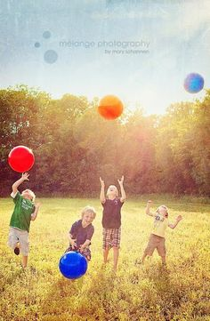 Lovely idea for a photo shoot bright balls and boys.