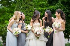 mismatched long grey and blush bridesmaids dresses | Read More: http://www.stylemepretty.com/2014/10/15/chicago-glamour-at-the-rookery-building/